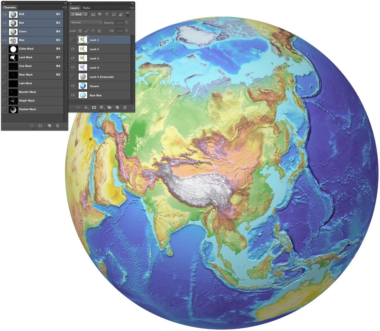 Globe 40n 100e 4 colour multi layered photoshop format with a globe 40n 100e 4 colour multi layered photoshop format with a set of masks gumiabroncs Gallery