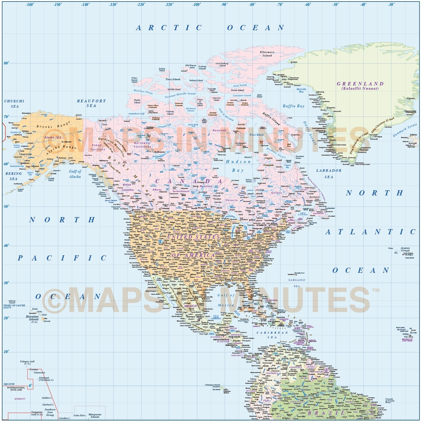 North America Countries Map With Ocean Floor Contours @10