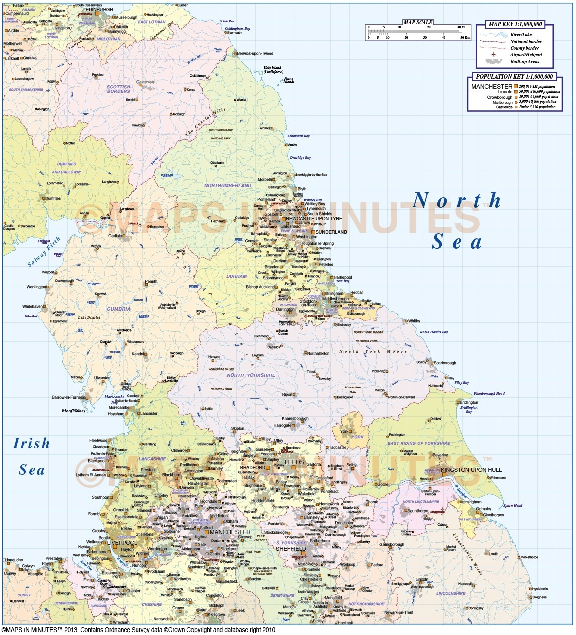 North Of England Map.Digital Vector North England Basic Map In Illustrator Cs And