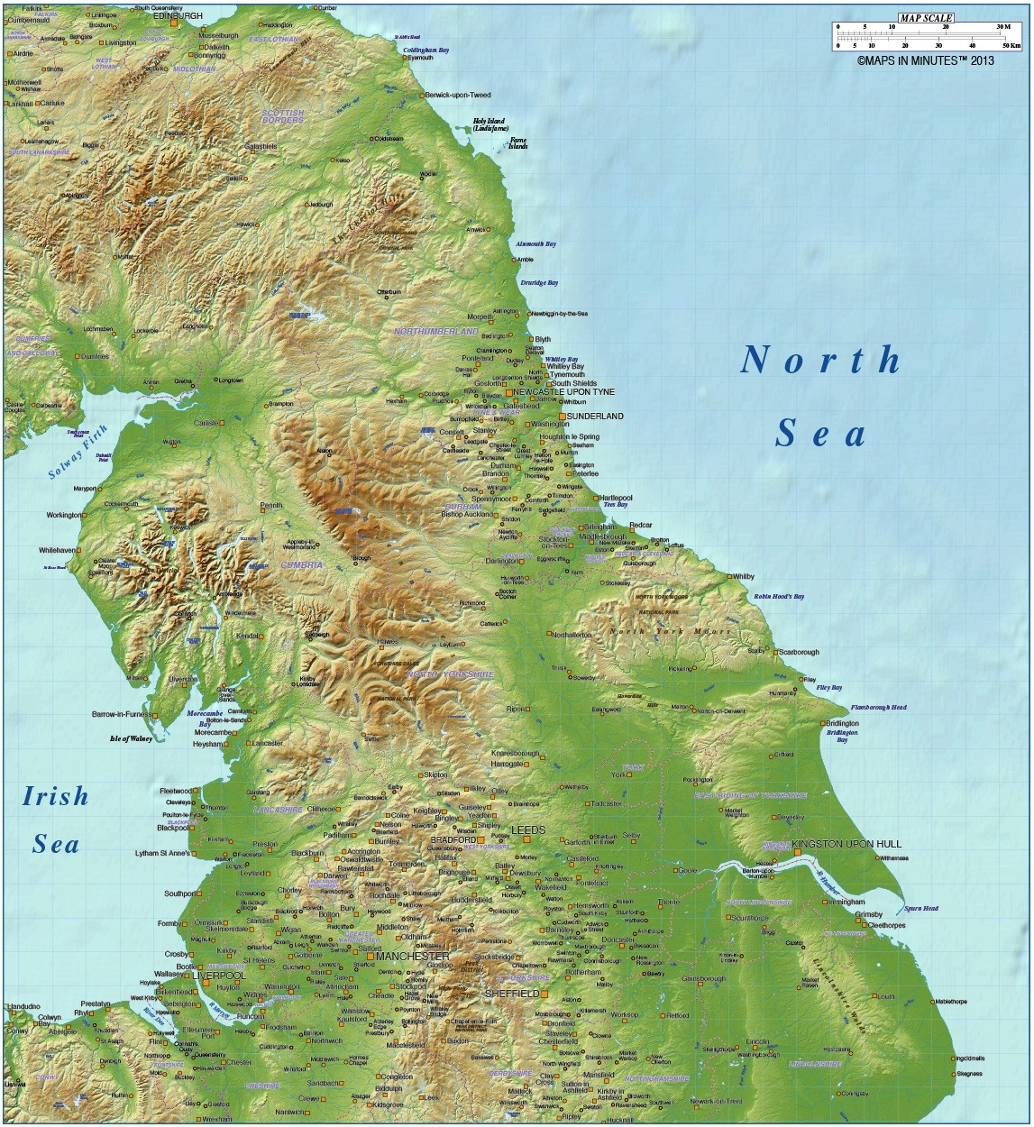 Map Of North England Uk.North England 1st Level Political County Map With Strong Relief