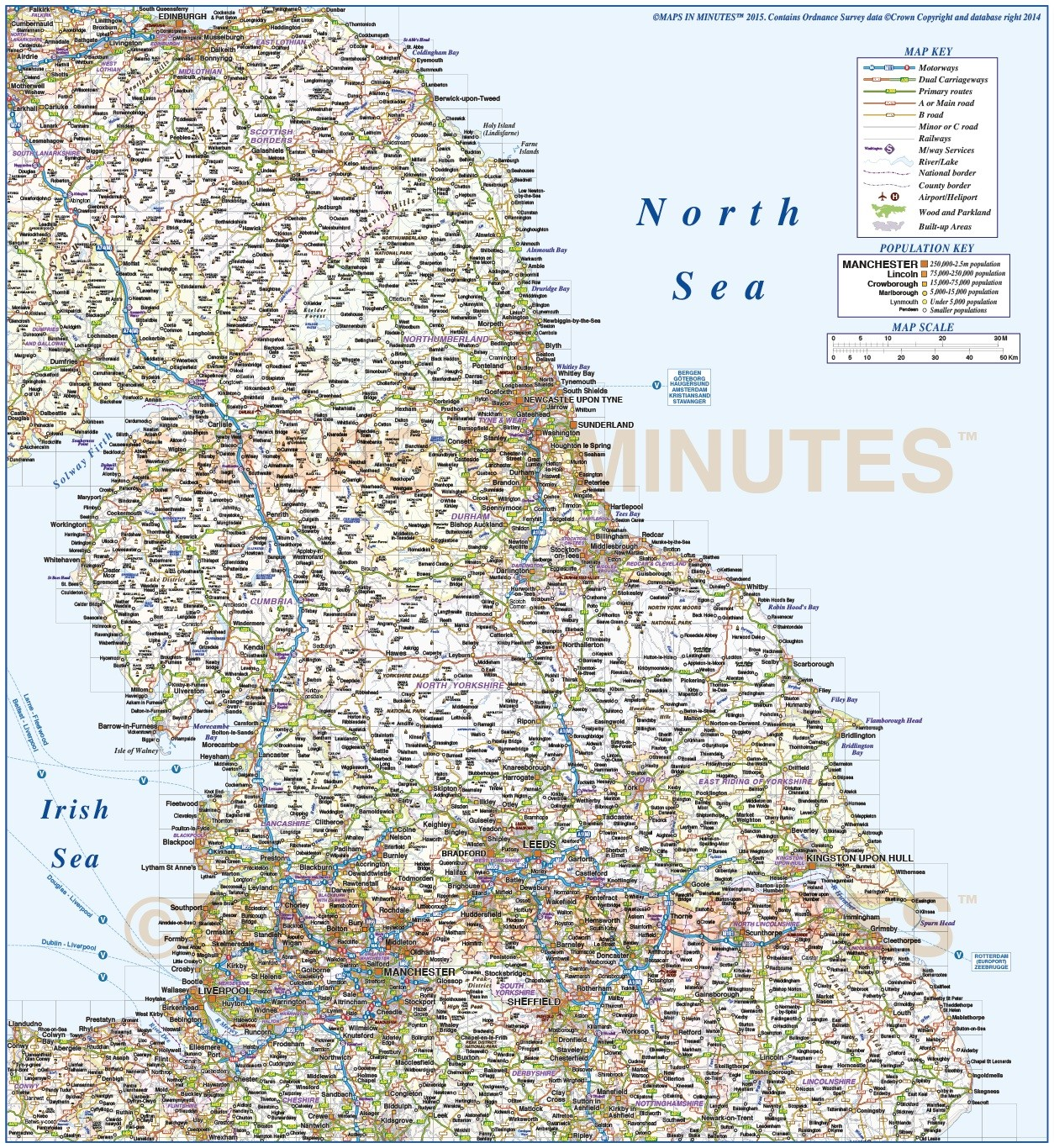 vector england map digital north england county road and railways map fully layered