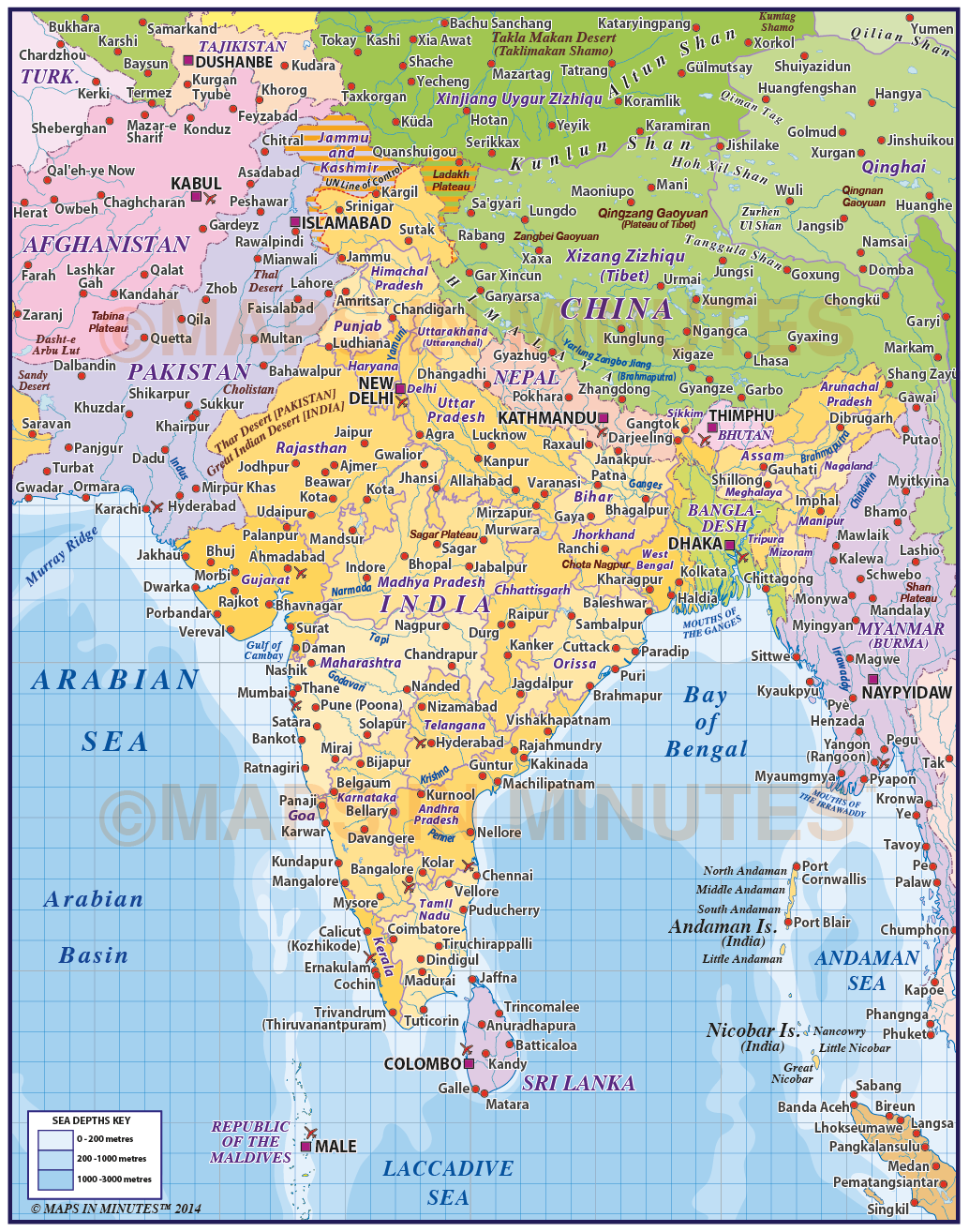 Vector india states level political map plus sea contours 110m digital vector india states political map plus sea contours 110m scale gumiabroncs Choice Image