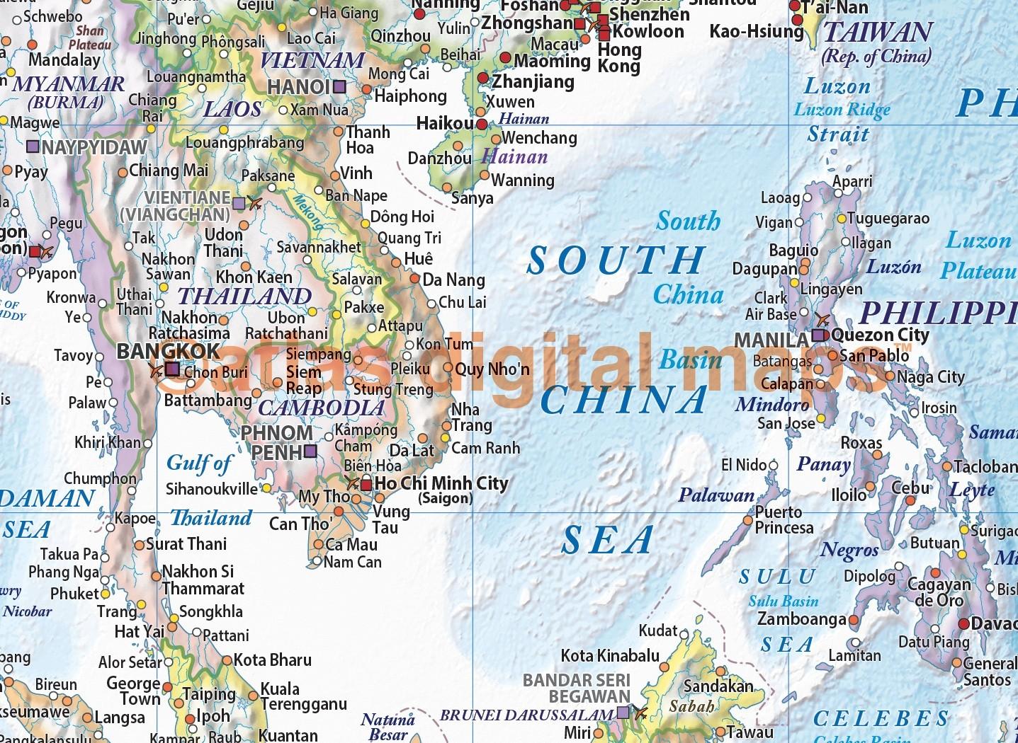 World Wall Map Framed CANVAS Political & Ocean contour relief Light ...