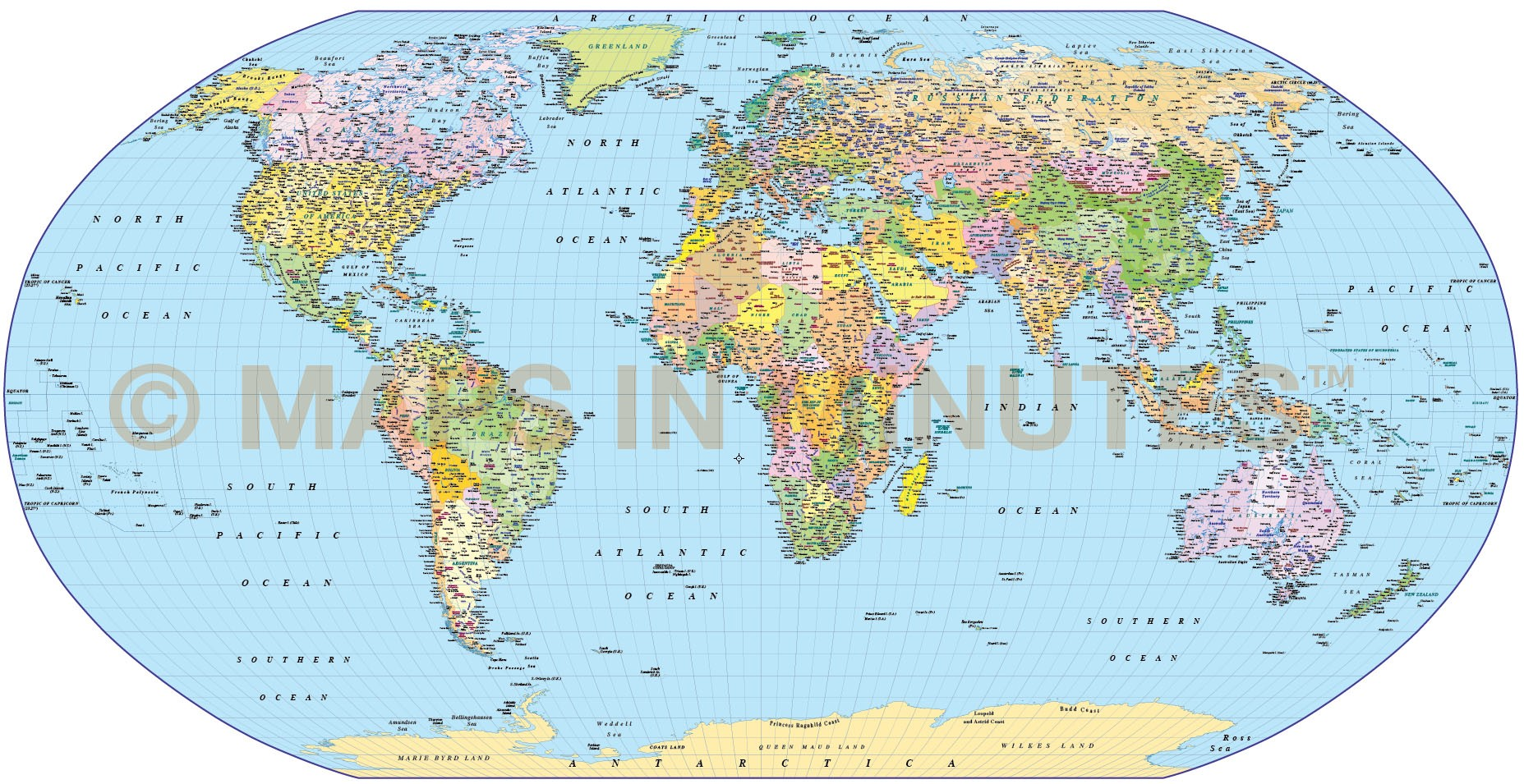 Digital Vector World Map Robinson Projection Political Uk Centric