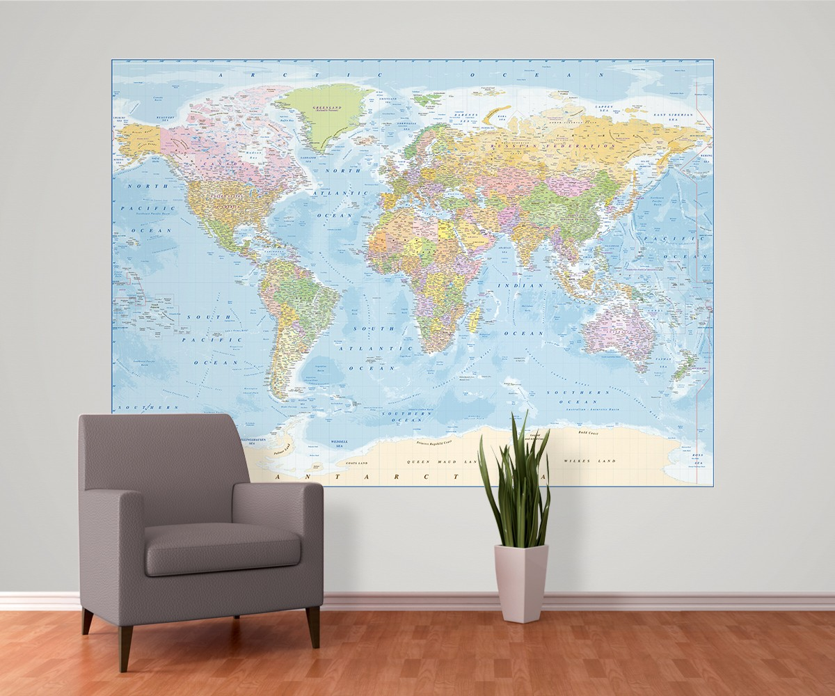 World political with ocean floor contours style map 4 piece large world political wall mural large size 2 piece map gumiabroncs Gallery