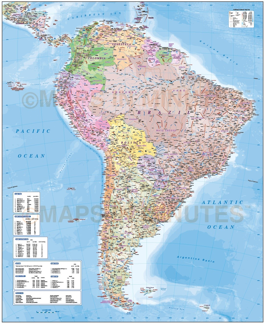Digital Vector South America Map Deluxe Political Road  Rail Map - Political south america map