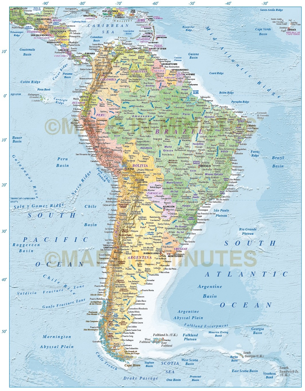 Digital Vector North And South America Political Map 10 000 000