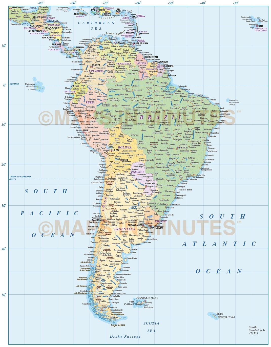 Digital vector South America Political map large scale in