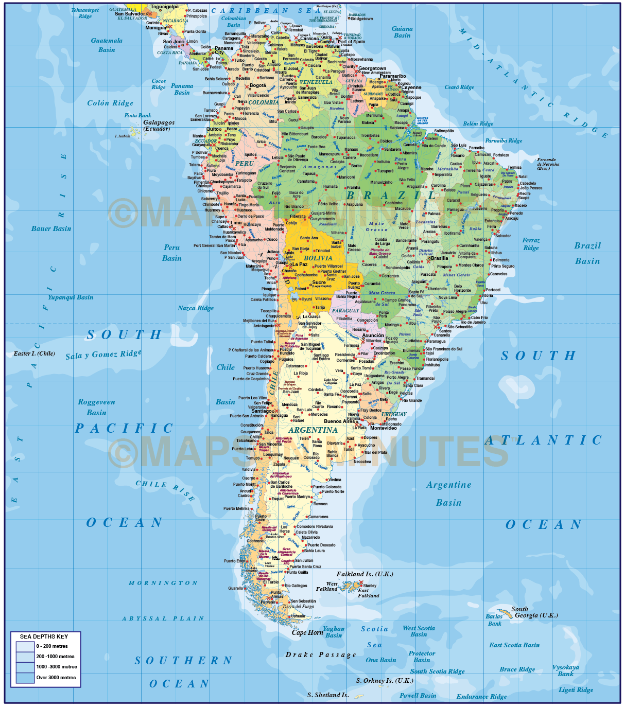 Digital vector South America Political map with sea contours ...
