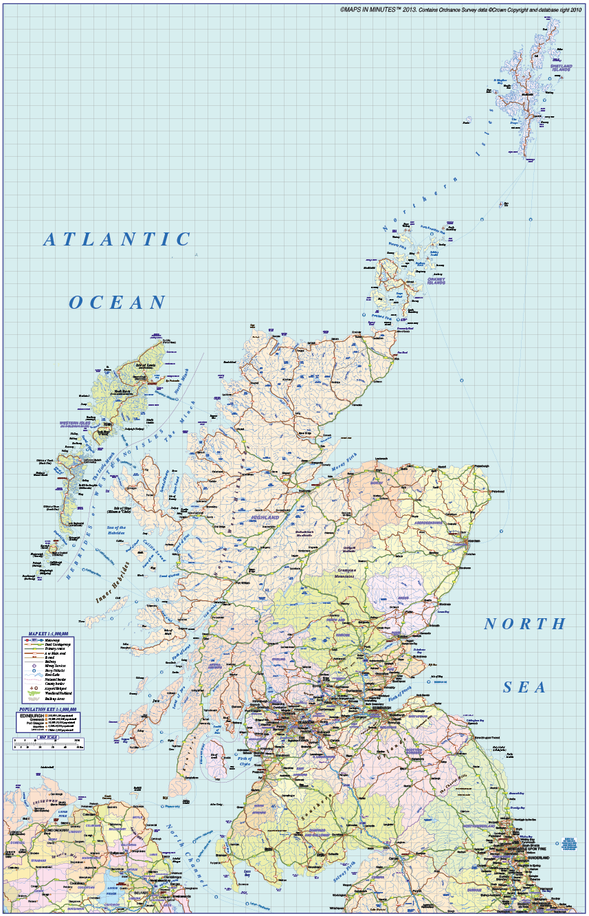 Scotland regions road and rail map 1m scale in illustrator and