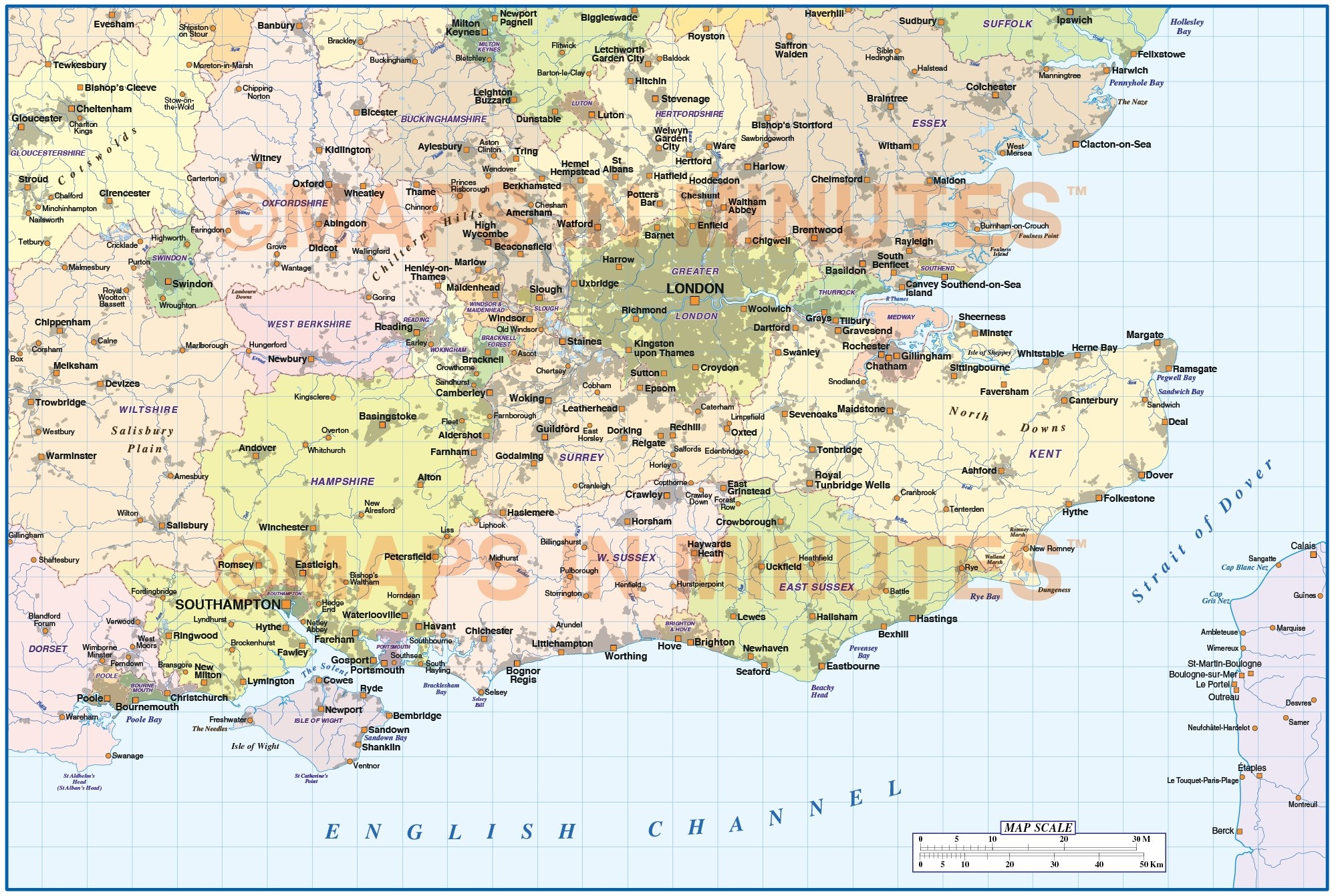 Map Of South England.Digital Vector England Map South East Basic In Illustrator