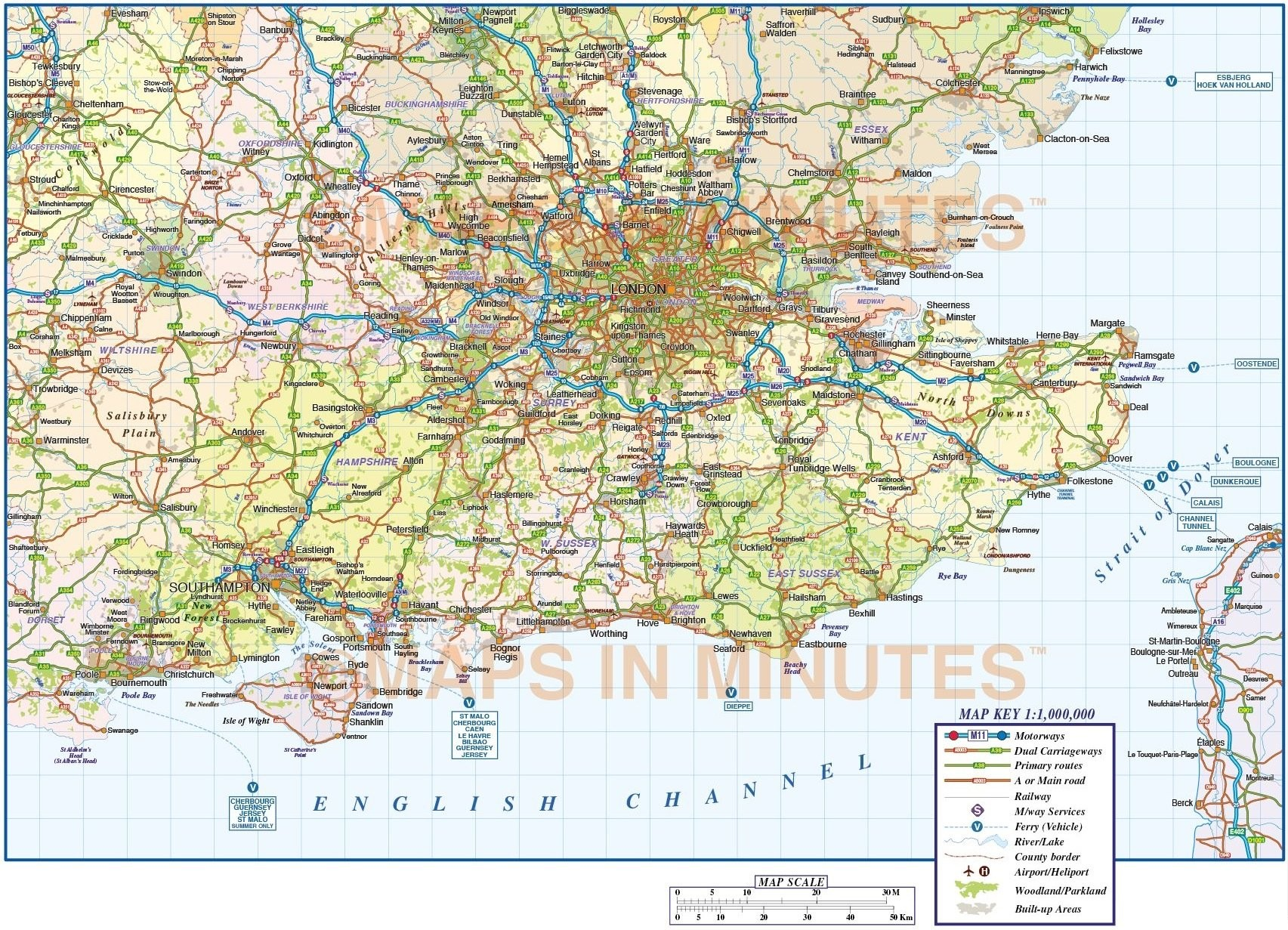 Map Of South East England Counties.Detailed South East England Map Illustrator Ai Cs Vector Road