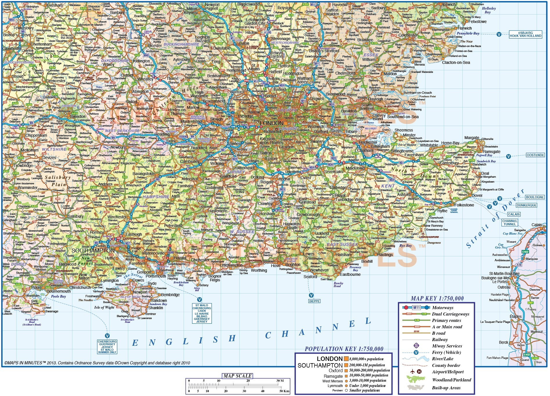 Map Of England Political.Detailed South East England Map Road Rail County Political Map