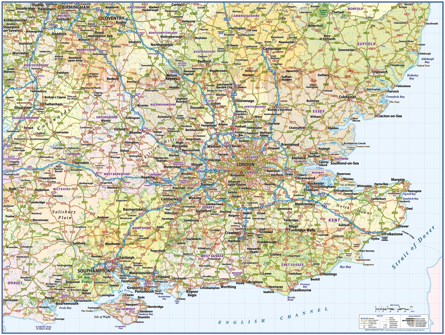 Map Of England South.South East England 1st Level County Wall Map With Roads And Rail