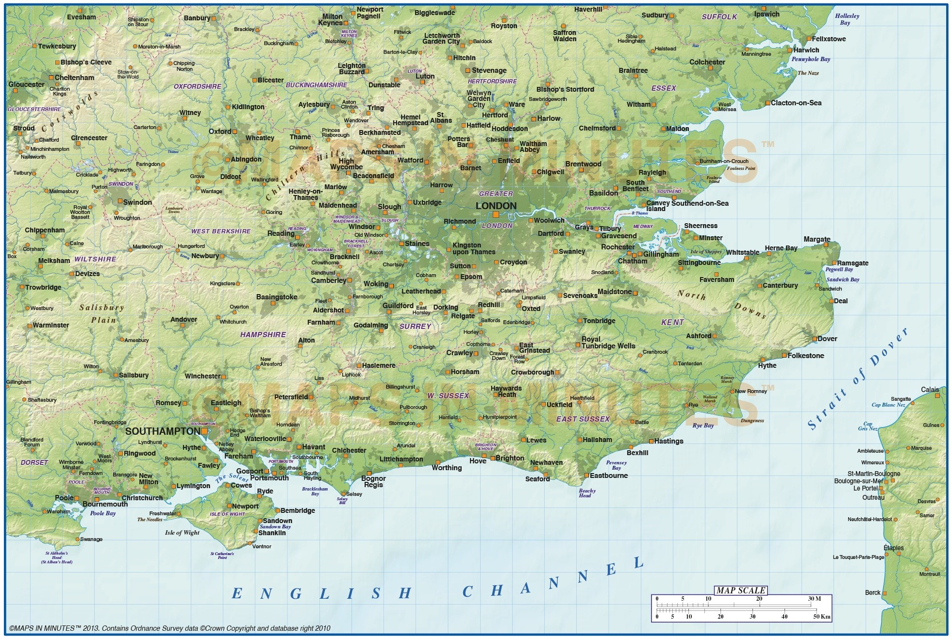 Se England Map.Digital Vector South East England Map With Strong Shaded Relief In