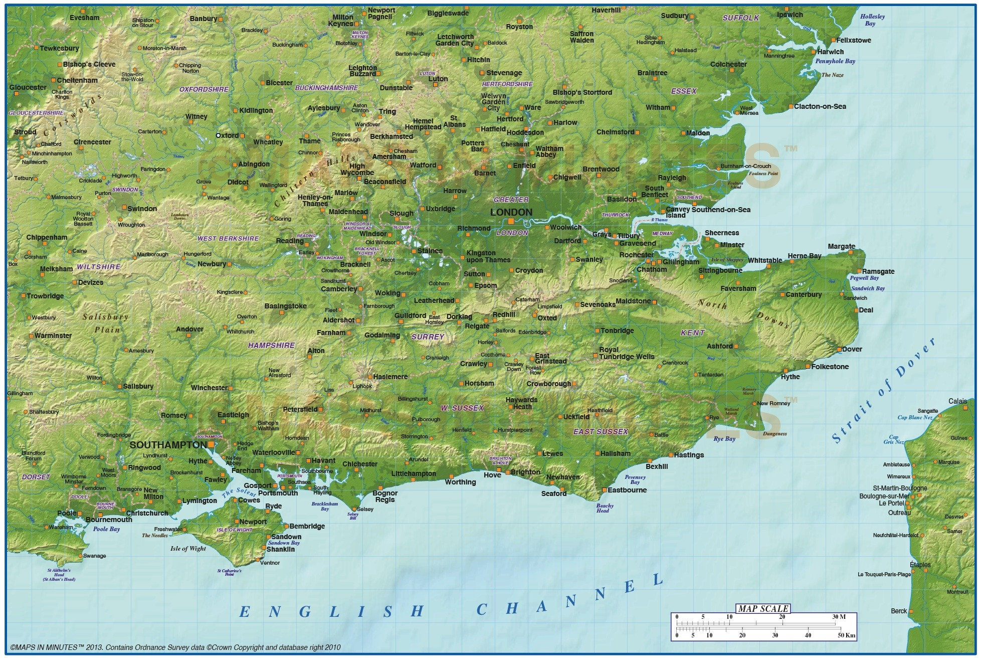 Map Of South England.Digital Vector South East England Map With Strong Shaded Relief In
