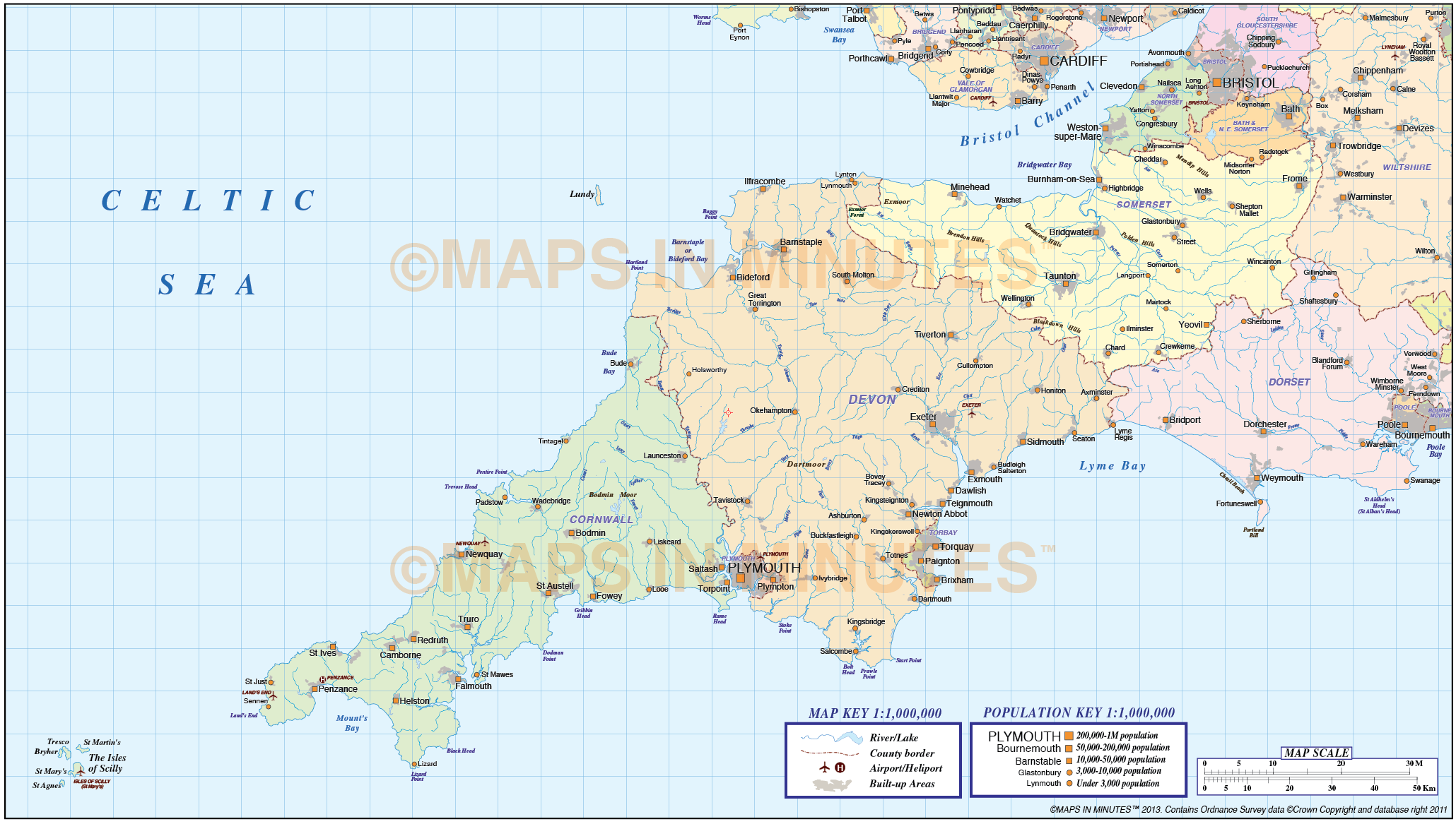 digital vector south west england map in illustrator CS and editable pdf vect