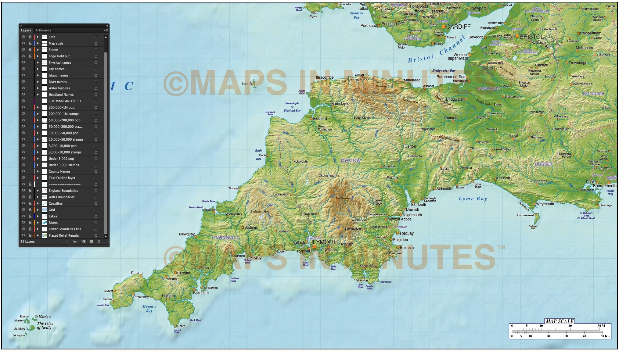 Map Of England To Colour.South West England County Map With Strong Relief 1 000 000 Scale In