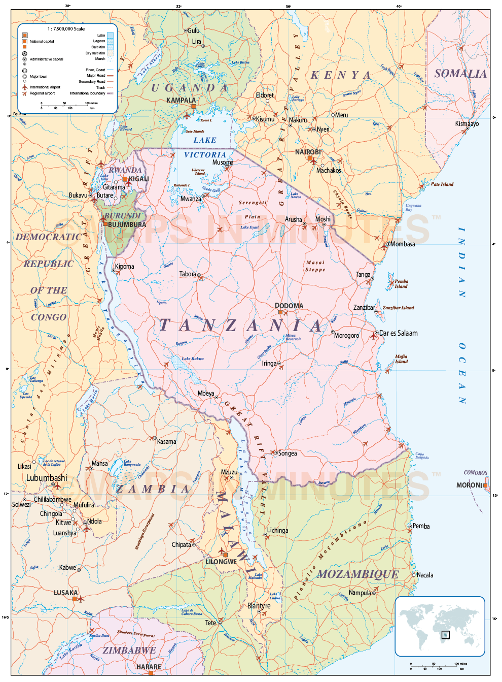 Picture of: Digital Vector Tanzania Political Country Map Plus Roads And Ral In Illustrator Format Royalty Free
