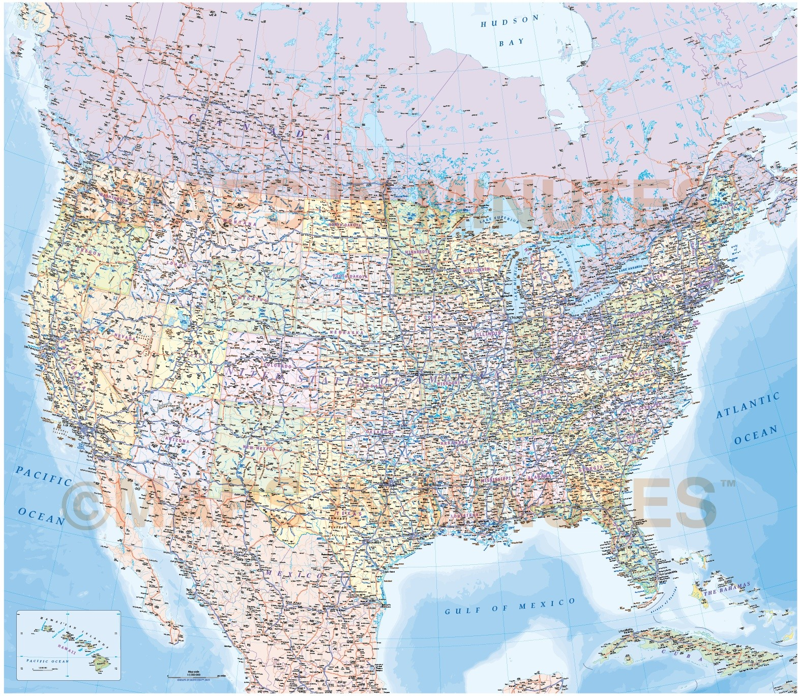USA North America Road Rail Map, Illustrator AI CS vector format