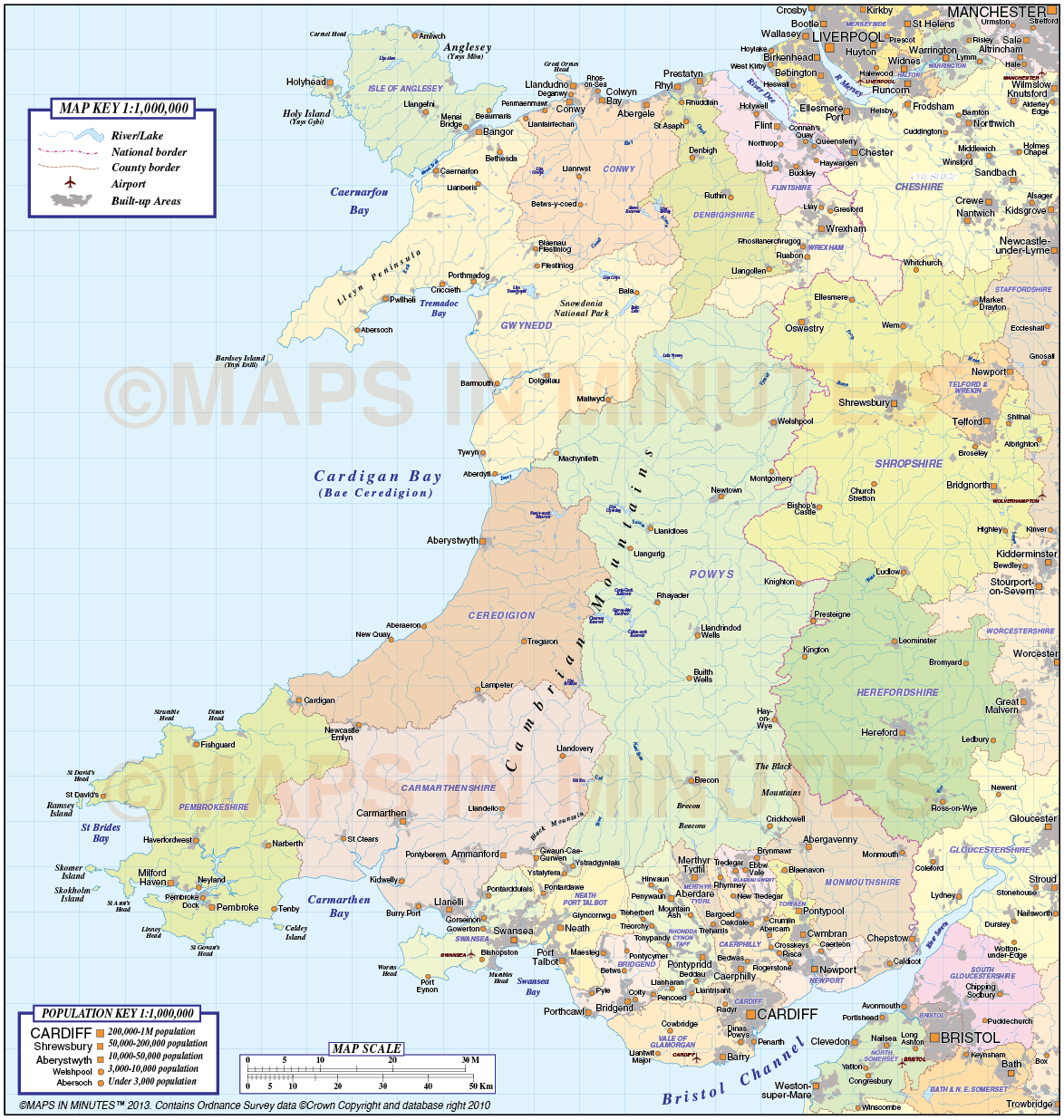 Wales Basic County map 1m scale Wales maps British Isles UK Maps