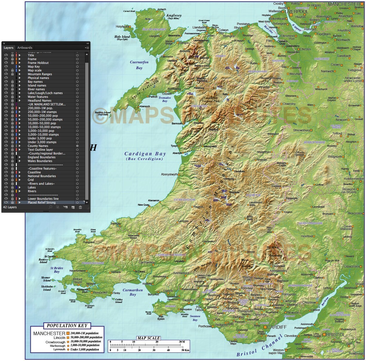 Wales 1st level Political Map with Strong relief 1m scale in