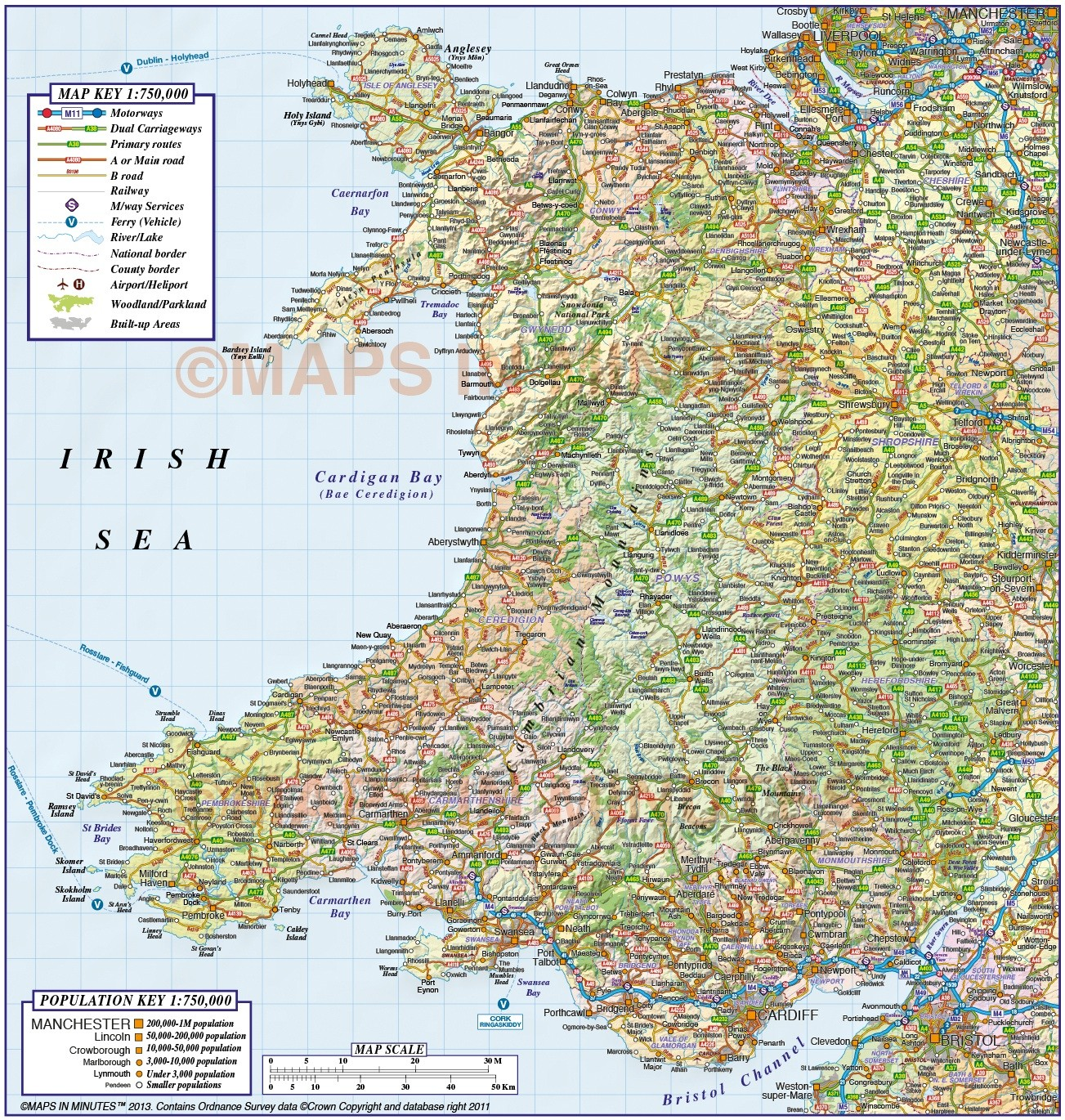 Map Of Wales Uk.Digital Vector Wales County Road Rail Plus Shaded Relief Map At