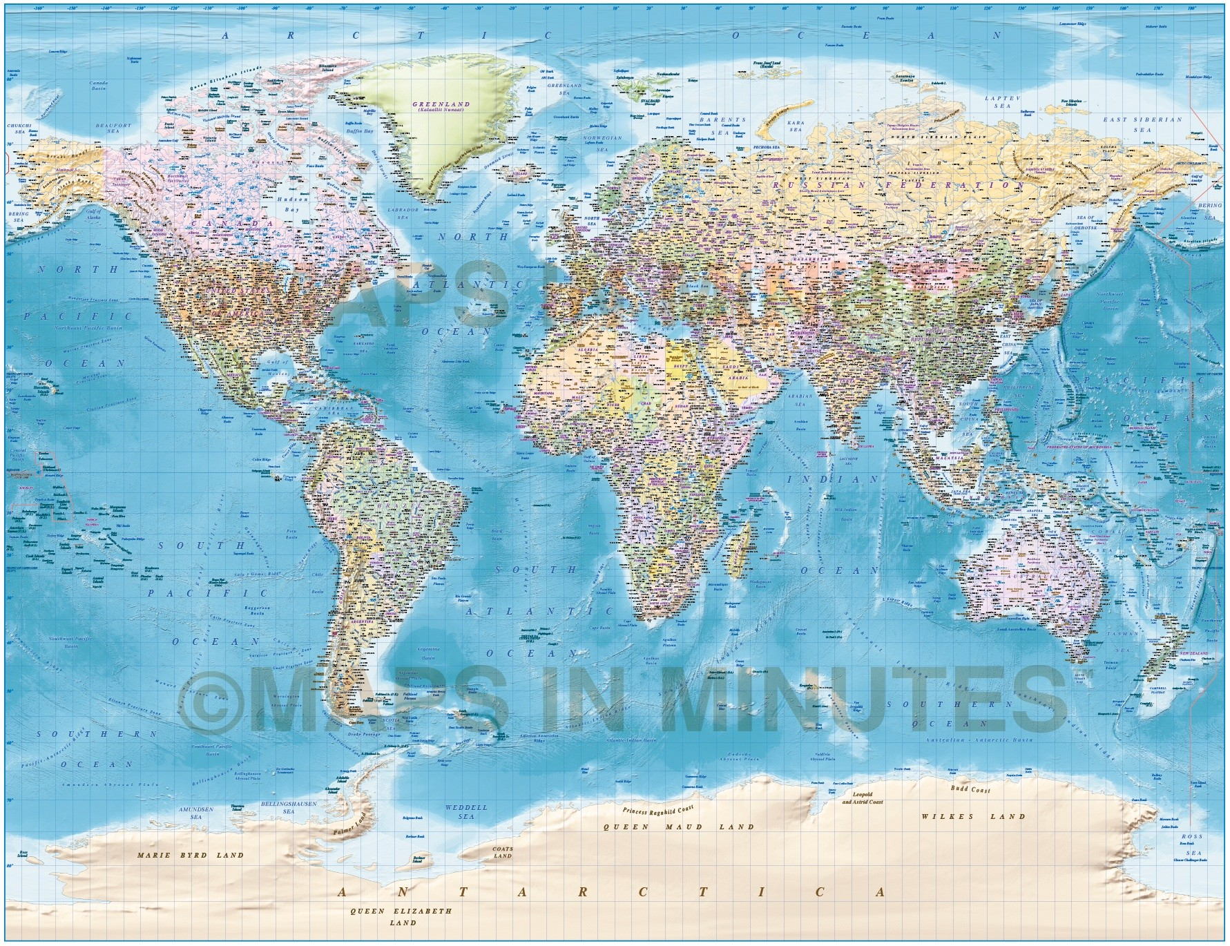 Digital vector political world map with relief terrain for land gall large world political and country relief map of land plus ocean floor gumiabroncs Choice Image