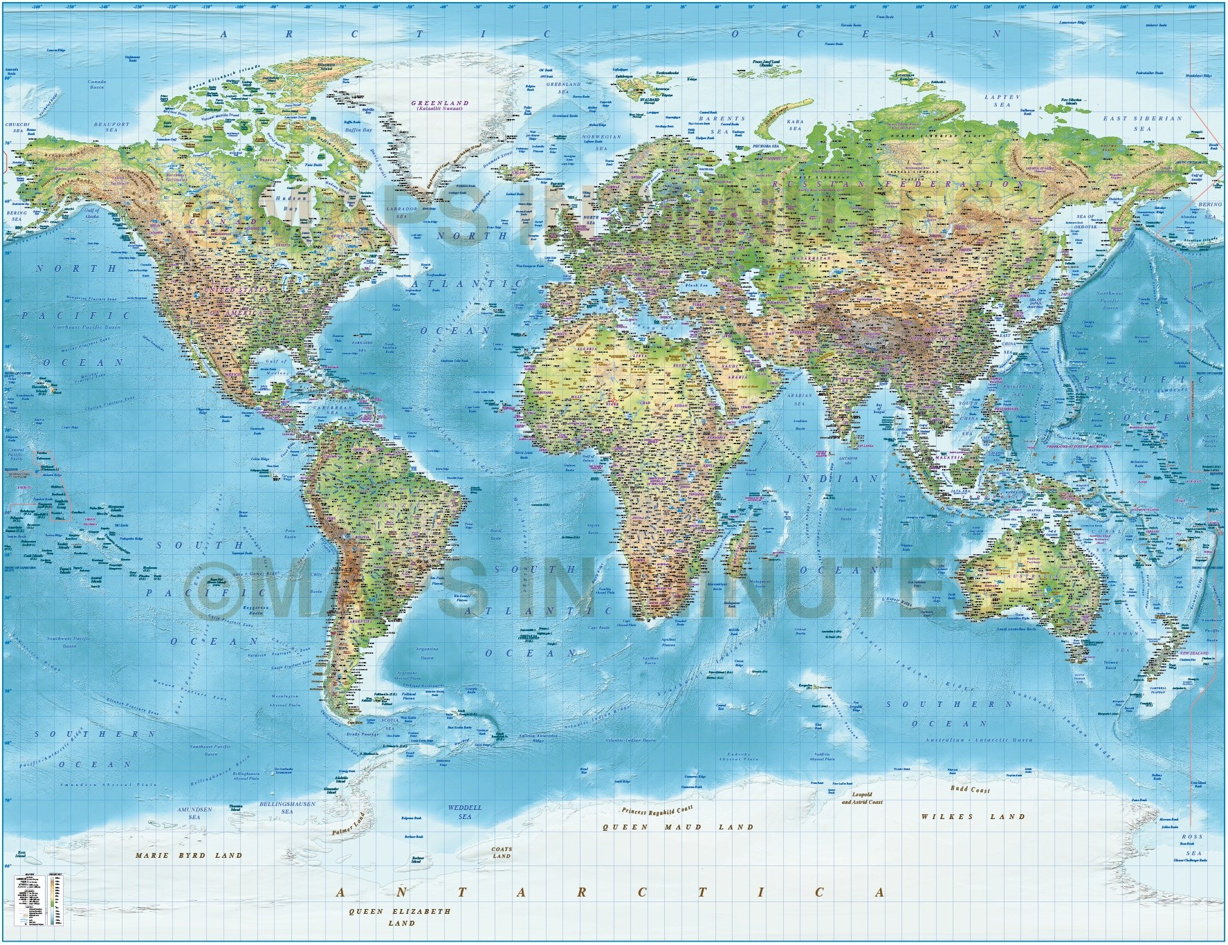 Digital Vector Political World Map With Relief Terrain For Land And