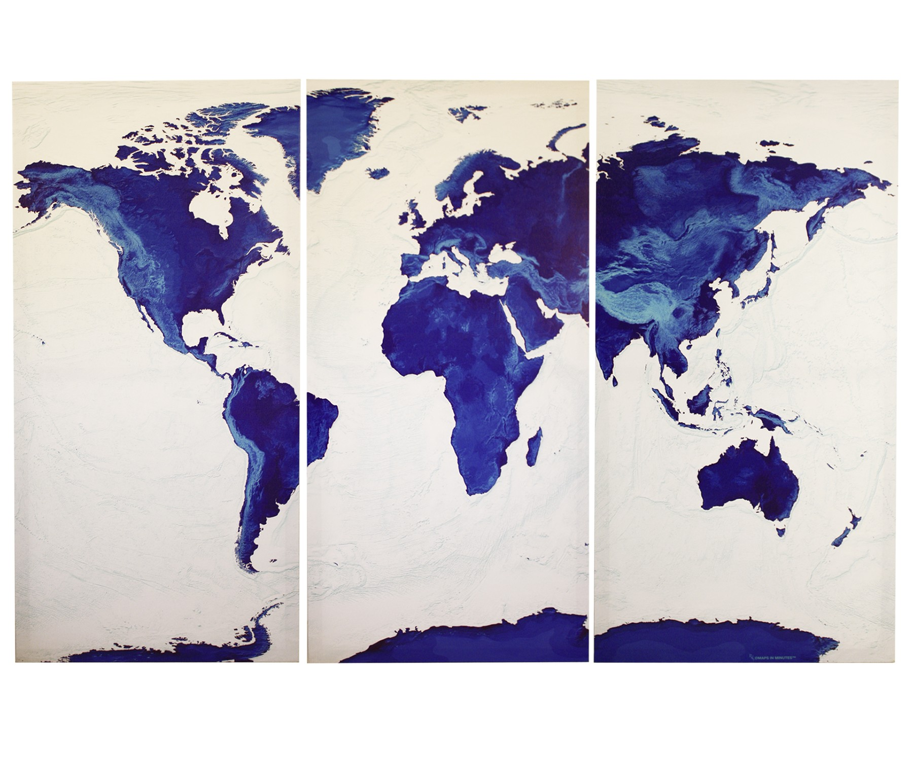 Sapphire blue world map triptych physical wall map stretched sapphire blue world map stretched canvas triptych physical relief for home decor size 120cm gumiabroncs Image collections