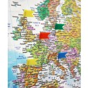 Push Pin Travel World Map Canvas Blue + Push Pins Standard Size 90x60cm