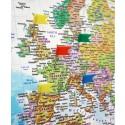 Push Pin Travel World Map Canvas Blue + Push Pins Standard Size 90x60cm