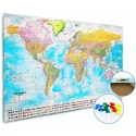 Push Pin World Map Canvas + Flags Large 120 x 80cm