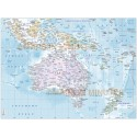 Australasia Countries map with insets & Ocean floor contours Large size