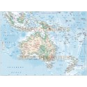 Australasia map with Land & Ocean floor contours Poster size