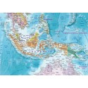 """Rolled CANVAS World Map Political & Relief with Bold Text - Large Size 60""""wx 38""""d"""