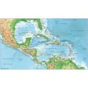 Central America Political map with High Res Land and Ocean relief