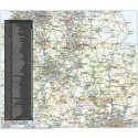 Central England County Road and Rail Map @1,000,000 scale