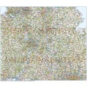 Central England County Road and Rail Map @500,000 scale