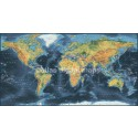 "VINYL Dark Navy World Relief Map - Wide size 72""w x 38""d"