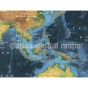"Rolled CANVAS Navy World Map - Wide size 72""w x 38""d"