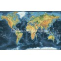 "Framed CANVAS Navy World Map - Large size 60""w x 38""d"
