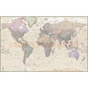 """VINYLAntique style 2 Relief World Map - Large 1.5mwx.96md (60"""" x 38"""")"""