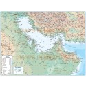 Gulf Political Deluxe Country map with Road & Rail plus land & sea contours