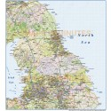 North England County Road and Rail Map @1m scale with hill shading