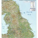 North England County Road & Rail Regular Relief map @500,000 scale
