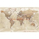 "Stretched CANVAS Antique-style Sand World Map - Large size 60""w x 38""d"
