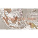 "VINYL World Map Antique-style Tan & Stone - Large Size 60""w x 38""d"
