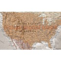 """VINYL Tan & Stone World Map with Bold Text - Large 60""""wx 38""""d"""