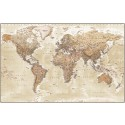 "Framed CANVAS World Map Antique-style Sand - Physical & Political Size 60""w x 38""d"